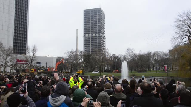 The 116meter high AfEtower a former university building from the seventies falls together with its demolition on February 2 2014 in Frankfurt am Main...
