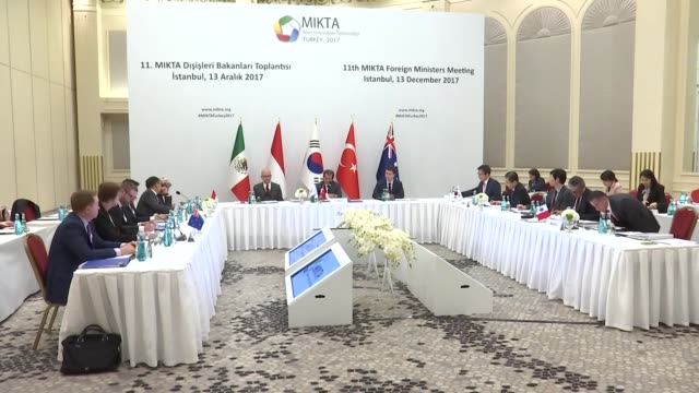 the 11th annual meeting of foreign ministers of mikta countries is held in istanbul turkey on december 13 2017 - annual general meeting stock videos & royalty-free footage