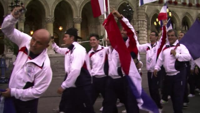 the 13th european maccabi games also known as the jewish olympics was officially opened wednesday evening in vienna in a highpowered ceremony in... - vienna city hall stock videos & royalty-free footage