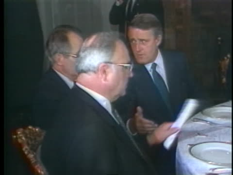 the 13th g7 economic summit begins with a dinner for leaders including us president ronald reagan and british prime minister margaret thatcher - (war or terrorism or election or government or illness or news event or speech or politics or politician or conflict or military or extreme weather or business or economy) and not usa video stock e b–roll