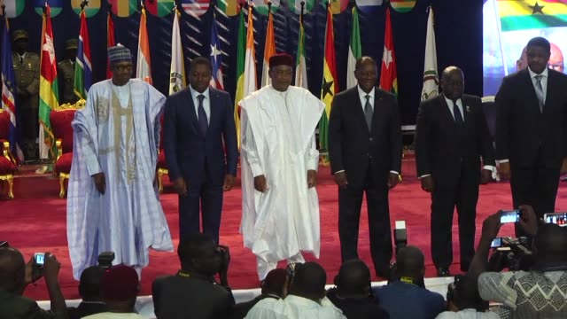 the 15 nation west african bloc ecowas tells regional leaders that the goal of establishing a single currency among their economies in 2020 has failed - mahamadou issoufou stock videos and b-roll footage