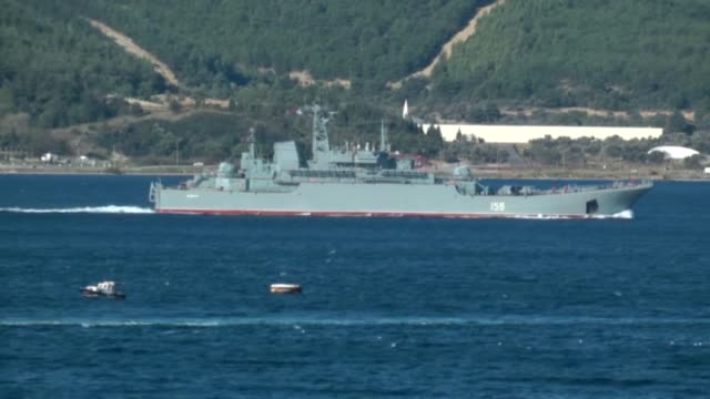 the 156 hull numbered russian navy ship yamal passes through the canakkale strait on october 28 2015 in canakkale turkey footage by altug acer /... - 船の一部点の映像素材/bロール