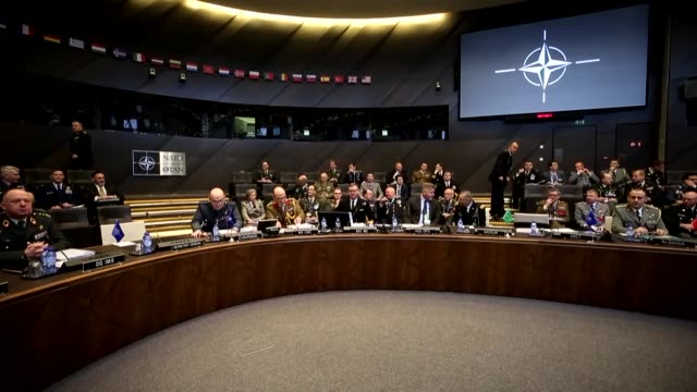 the 180th nato military committee in chiefs of defence session is held at nato headquarters in brussels, belgium on january 15, 2019. chairman of the... - nato stock videos & royalty-free footage