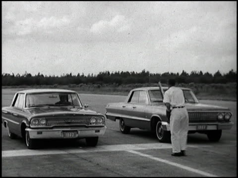 the 1963 chevrolet impala with the 327 v8 easily smokes the plymouth valiant and the ford galaxy in this sidebyside performance test then the impala... - curious cumulus productions stock videos and b-roll footage