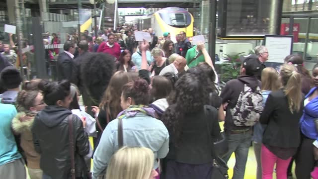 the 2012 uk x factor winner, singer james arthur created a chaos thanks to tons of fans as he arrives in paris at gare du nord paris railway station... - 2013 stock videos & royalty-free footage