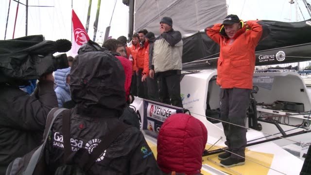 the 2012-2013 vendee globe the solo non stop round the world race kicked off on saturday with 20 competitors taking part in the 24000 mile 44450km... - circumnavigation stock videos & royalty-free footage