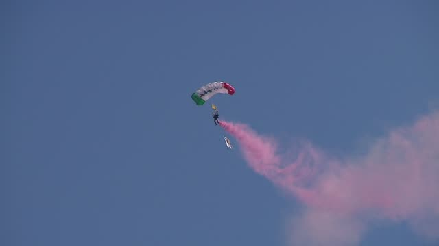 the 2013 chicago air and water show attracted 1.7 million spectators. parachuters in the air on august 16, 2013 in chicago, illinois - chicago air and water show stock videos & royalty-free footage
