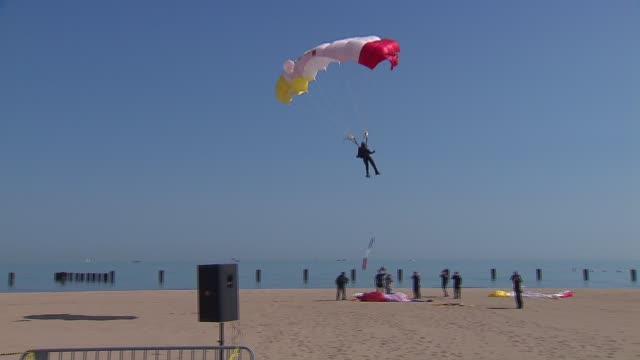the 2013 chicago air and water show attracted 1.7 million spectators. parachuters landing in the air and water show on august 16, 2013 in chicago,... - chicago air and water show stock videos & royalty-free footage