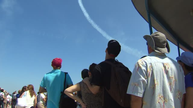 the 2013 chicago air and water show attracted 1.7 million spectators. crowd watching the air and water show on august 16, 2013 in chicago, illinois - chicago air and water show stock videos & royalty-free footage
