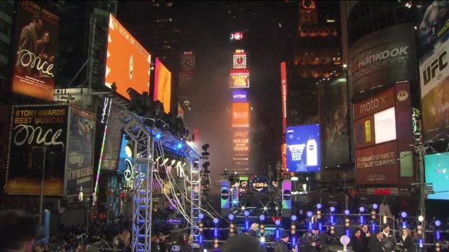 the 2014 new year's eve ball drop at one times square on january 01 2014 in new york new york - new year's eve stock videos and b-roll footage