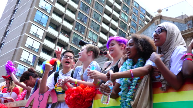 the 2016 lgbt celebrations is dedicated to the orlando terror attack victims. it is the first time that a sitting prime minister of canada partakes... - multiculturalism stock videos & royalty-free footage