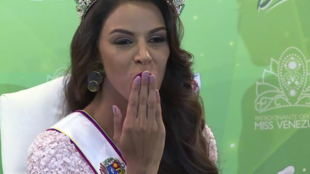 vídeos y material grabado en eventos de stock de the 2016 winner of the miss venezuela beauty pageant keysi sayago was cautious on thursday in her comments about the episode between us republican... - concurso television