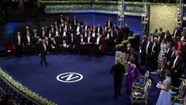 the 2017 nobel prize laureates were presented with their awards on december 10, 2017 by king of sweden, carl xvi gustaf in the capital stockholm. kip... - award stock videos & royalty-free footage