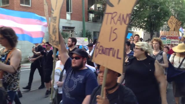 the 2017 trans march rally in center city philadelphia pennsylvania usa - center city philadelphia stock videos and b-roll footage