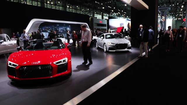 The 2018 Audi R8 52 V10 plus is displayed at the New York International Auto Show at the Jacob K Javits Convention Center on March 28 2018 in New...