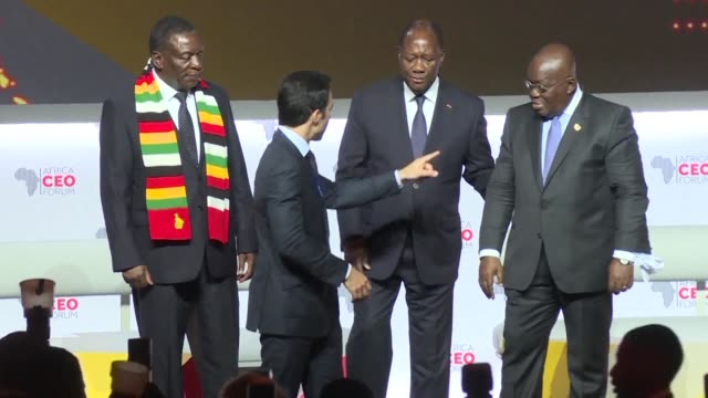the 2018 edition of the africa ceo forum opens in abidjan with the heads of state of zimbabwe ghana and ivory coast in attendance - côte d'ivoire stock videos & royalty-free footage