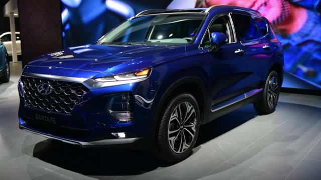 The 2019 Hyundai Motor Corp Sante Fe seen during the 2018 New York International Auto Show in New York US on Wednesday March 28 2018