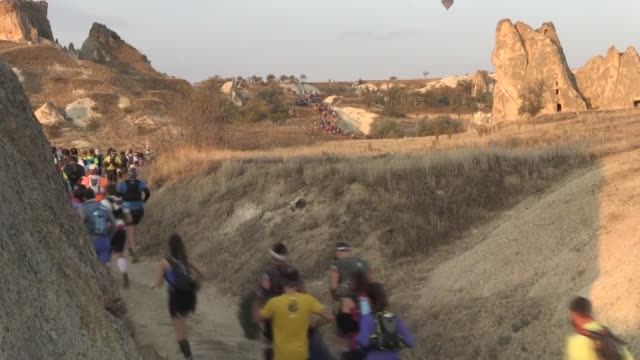 the 24hour trail race kicked off in the land of fairy chimneys cappadocia one of unesco world heritage sites on october 19 2019 the salomon... - land stock videos & royalty-free footage