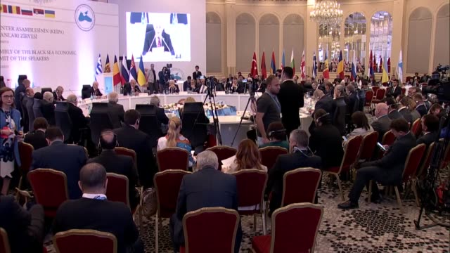 the 25th anniversary of the parliamentary assembly of the black sea economic cooperation summit of the speakers kicked off in istanbul with calls... - g8:s toppmöte bildbanksvideor och videomaterial från bakom kulisserna