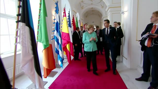 the 27 heads of state of eu arrive at the city port after lunch onboard of the regina danubia boat during the informal meeting of the 27 heads of... - 2016 stock videos & royalty-free footage