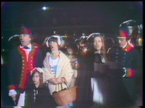 the 2nd pennsylvania regiment, allentown company, performs christmas carols on the streets of bethlehem, pennsylvania. - carol singer stock videos & royalty-free footage