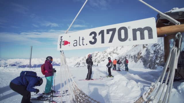 the 3170m sign at the top of la plagne ski resort, tarentaise, savoy, french alps, france, europe - deep snow stock videos & royalty-free footage