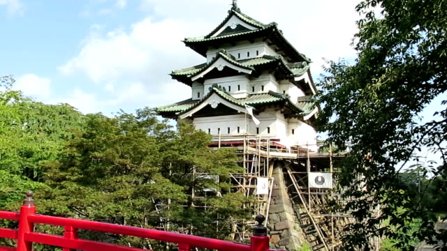 the 400ton symbolic tower of hirosaki castle in aomori prefecture at the northern tip of japan's honshu main island started moving on thursday... - honshu stock videos and b-roll footage