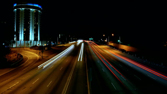 the 405 freeway at sunset - man and machine stock videos & royalty-free footage