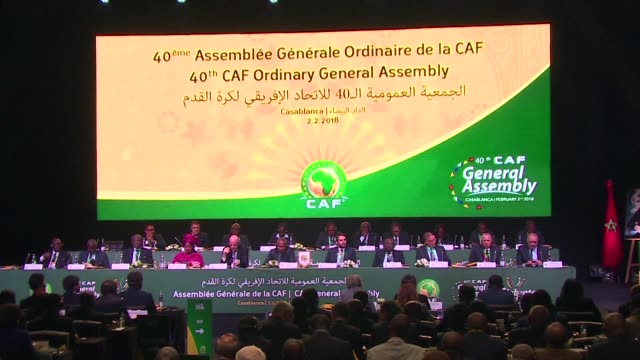 vídeos de stock, filmes e b-roll de the 40th general assembly of the african football confederation opened friday in casablanca morocco - gianni infantino