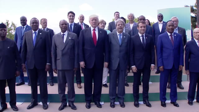 the 43rd annual g7 summit was held in taormino, sicily, italy with leaders including justin trudeau, prime minister of canada; emmanuel macron,... - united states and (politics or government) stock videos & royalty-free footage