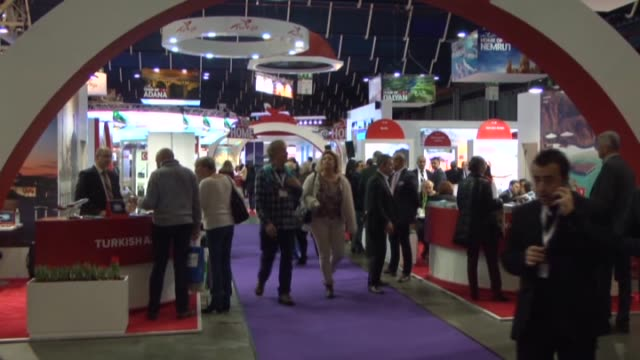 the 45th utrecht international tourism recreation fair 2015 which will be held between january 13 and 18 has started in jaarbeurs utrecht netherlands... - utrecht stock videos & royalty-free footage
