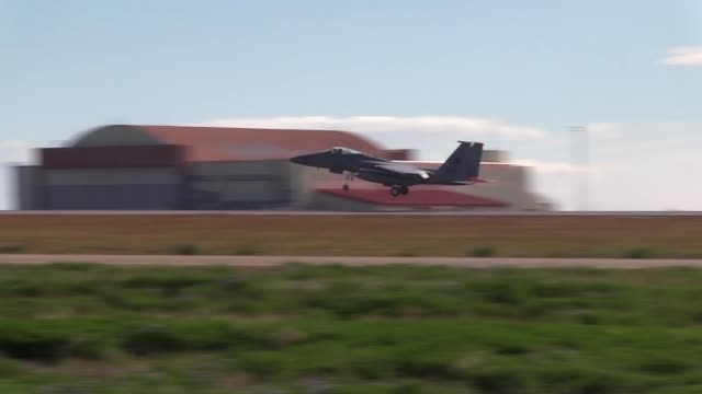 the 493rd expeditionary fighter squadron based at royal air force lakenheath perform training and maintains an alert posture during icelandic air... - afterburner stock videos and b-roll footage