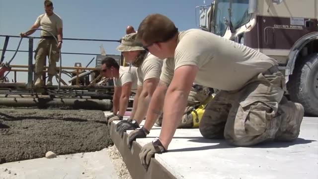 the 557th expeditionary rapid engineer deployable heavy operational repair squadron , located at bagram airfield is making runway repairs to un-sound... - bagram stock videos & royalty-free footage