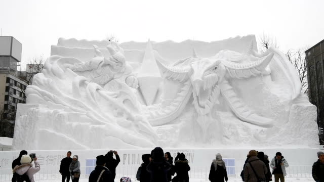 the 69th sapporo snow festival opened here feb 5 about 200 snow and ice sculptures are on show and this year's number of visitors is expected to... - snow festival stock videos & royalty-free footage