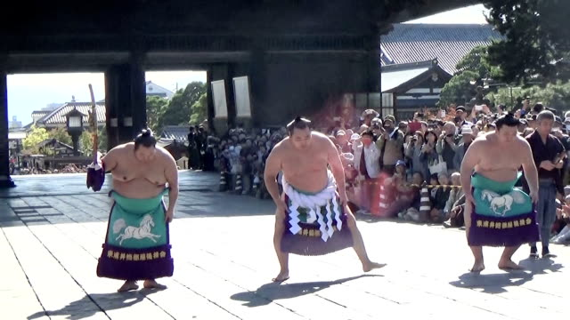 "the 71st yokozuna kakuryu performed the ""revival prayer yokozuna ring entering ceremony"" on october 15, 2015 at zenkoji temple in nagano. yokozuna... - ceremony stock videos & royalty-free footage"