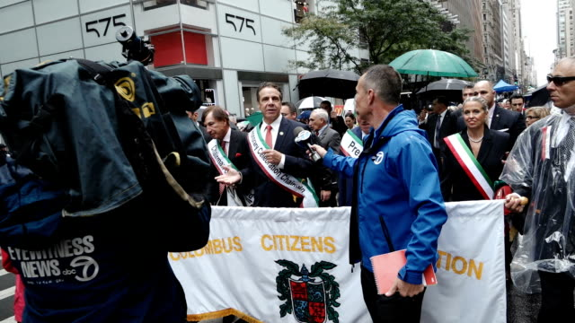 the 73rd annual columbus day parade in new york city via manhattan's 5th avenue note andrew mark cuomo is an american politician author and attorney... - andrew cuomo stock videos and b-roll footage