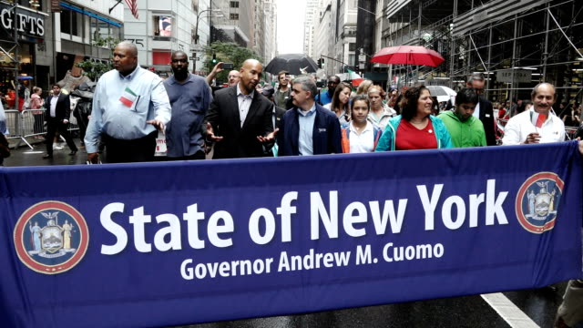 the 73rd annual columbus day parade in new york city via manhattan's 5th avenue - andrew cuomo stock videos and b-roll footage