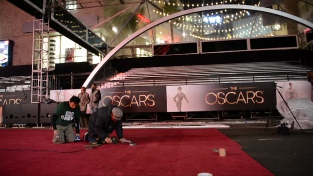 the 85th academy awards ceremony is scheduled on february 24 at the dolby theatre in hollywood clean oscars roll out red carpet on february 21 2013... - the dolby theatre stock videos & royalty-free footage