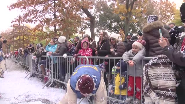 The 90th annual Macy's Thanksgiving Day Parade is held near Central Park of Manhattan in New York United States on November 24 2016 Footage by Vural...