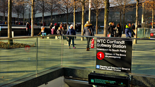 the 9/11 memorial and museum. people in grief. entrance to wtc cortlandt subways station. - september 11 2001 attacks stock videos & royalty-free footage