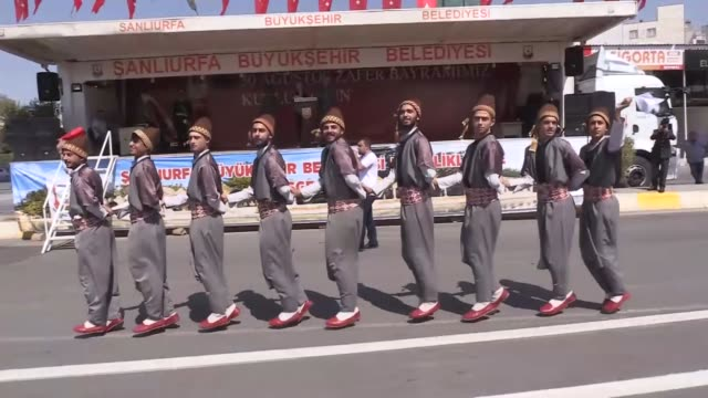 vidéos et rushes de the 96th anniversary victory day is celebrated with an official ceremony in sanliurfa, turkey on august 30, 2018. victory day marks the final battle... - défilé