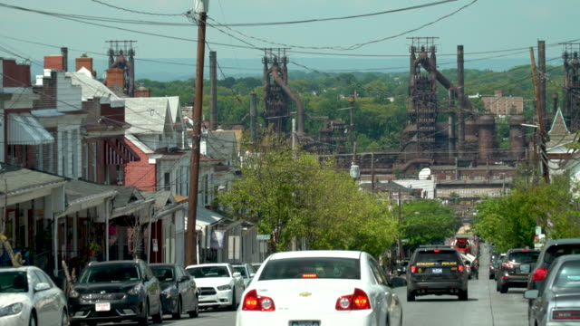 the abandoned bethlehem steel plant and the city of bethlehem - bethlehem pennsylvania stock videos & royalty-free footage