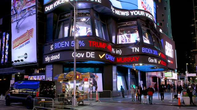 the abc - broadcasting company broadcasting live in midtown manhattan's times square the us presidential elections between incumbent republican... - abc broadcasting company stock videos & royalty-free footage