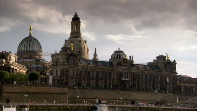 the academy of fine arts stands before the dresden frauenkirche in germany. available in hd. - dresden frauenkirche stock videos & royalty-free footage
