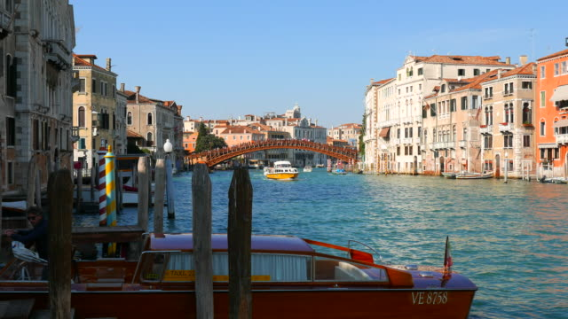 the accademia bridge and grand canal in venice  italy - canal stock videos & royalty-free footage