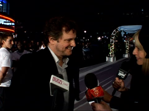 vídeos de stock, filmes e b-roll de 'the accidental husband' film premiere red carpet arrivals colin firth speaking to press / colin firth interview sot on uma's arrival / on working... - colin firth
