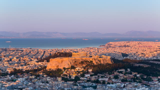tl ws the acropolis of athens at dawn, night to day - acropolis athens stock videos & royalty-free footage