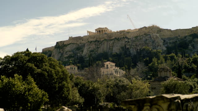 the acropolis seen from the city ruins - the erechtheion stock videos & royalty-free footage