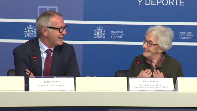 the acting minister of culture josé guirao has announced that the catalan poet joan margarit has been awarded the cervantes prize 2019 the most... - poetry literature stock videos & royalty-free footage