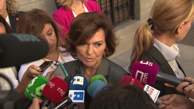 stockvideo's en b-roll-footage met the acting vice president of the government, carmen calvo says that the intention of the government is to remove the remains of franco from the... - pardo
